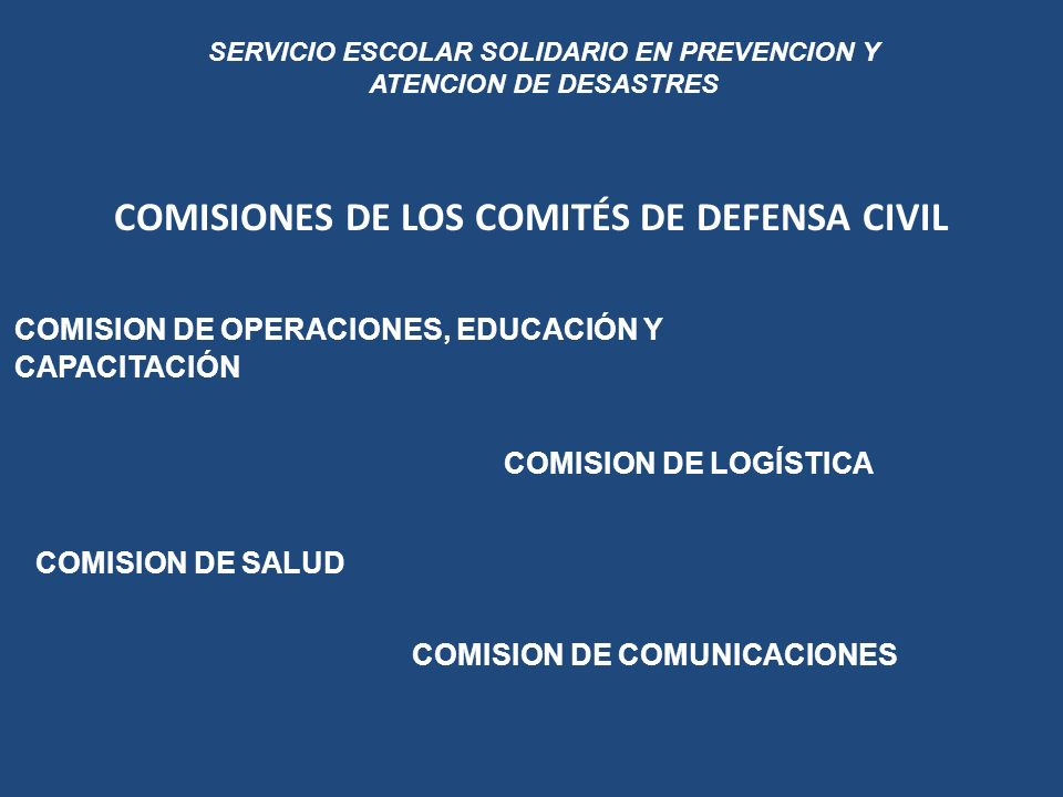 COMISIONES DE LOS COMITÉS DE DEFENSA CIVIL
