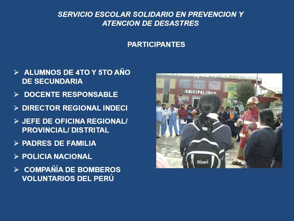 SERVICIO ESCOLAR SOLIDARIO EN PREVENCION Y ATENCION DE DESASTRES