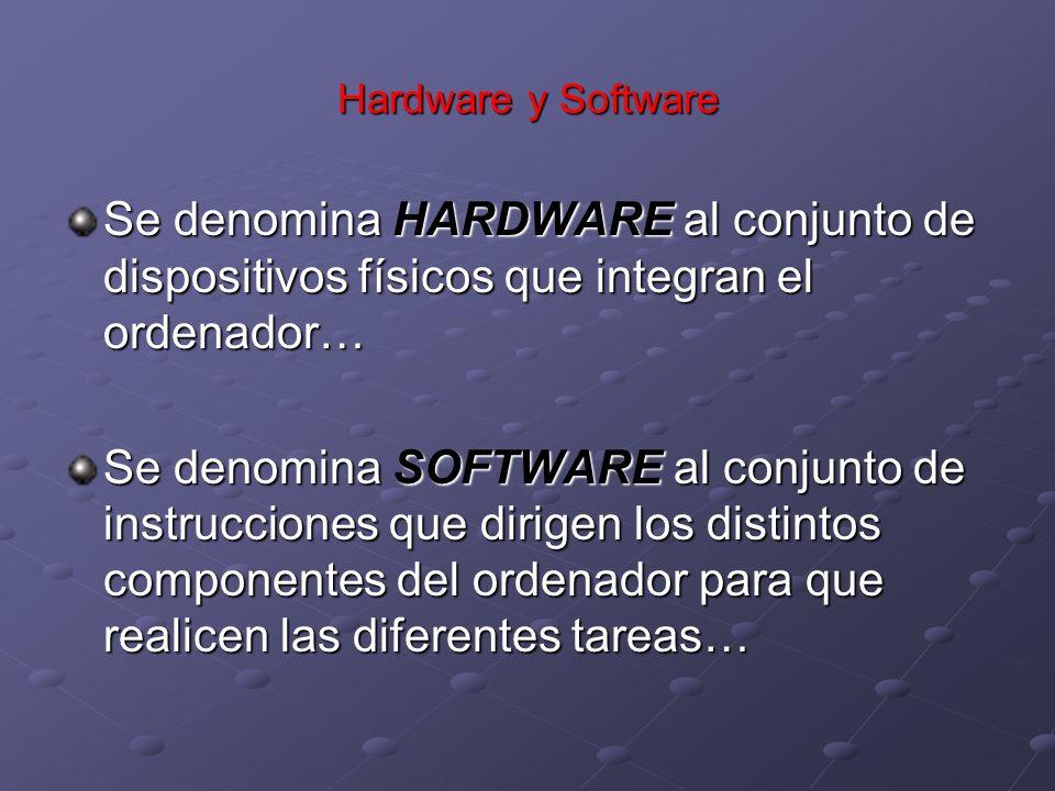 Hardware y Software Se denomina HARDWARE al conjunto de dispositivos físicos que integran el ordenador…