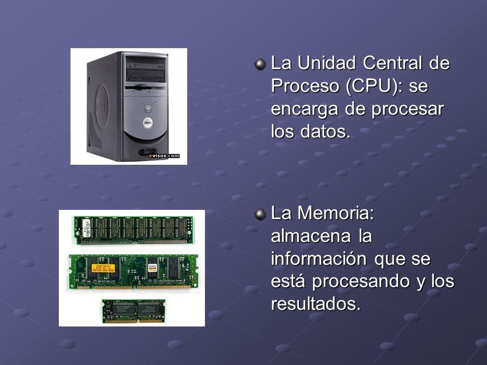 La Unidad Central de Proceso (CPU): se encarga de procesar los datos.