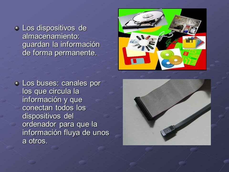 Los dispositivos de almacenamiento: guardan la información de forma permanente.