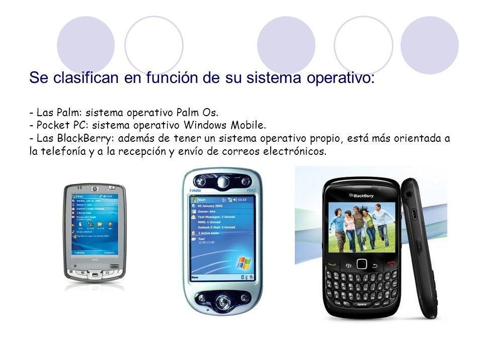 Se clasifican en función de su sistema operativo: - Las Palm: sistema operativo Palm Os.