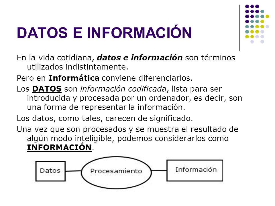 DATOS E INFORMACIÓN En la vida cotidiana, datos e información son términos utilizados indistintamente.