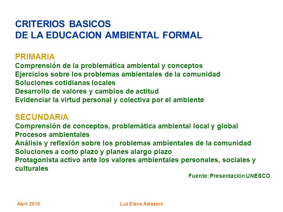 DE LA EDUCACION AMBIENTAL FORMAL