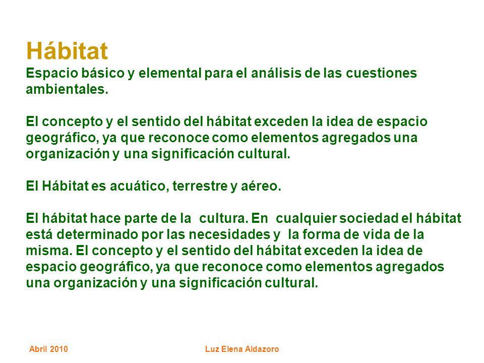 Hábitat Espacio básico y elemental para el análisis de las cuestiones ambientales.