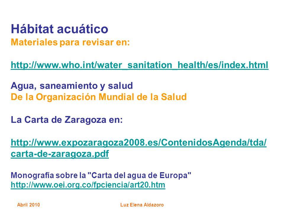 Hábitat acuático Materiales para revisar en: