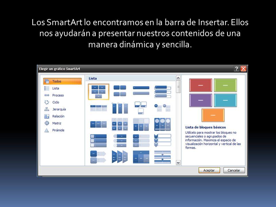 Los SmartArt lo encontramos en la barra de Insertar