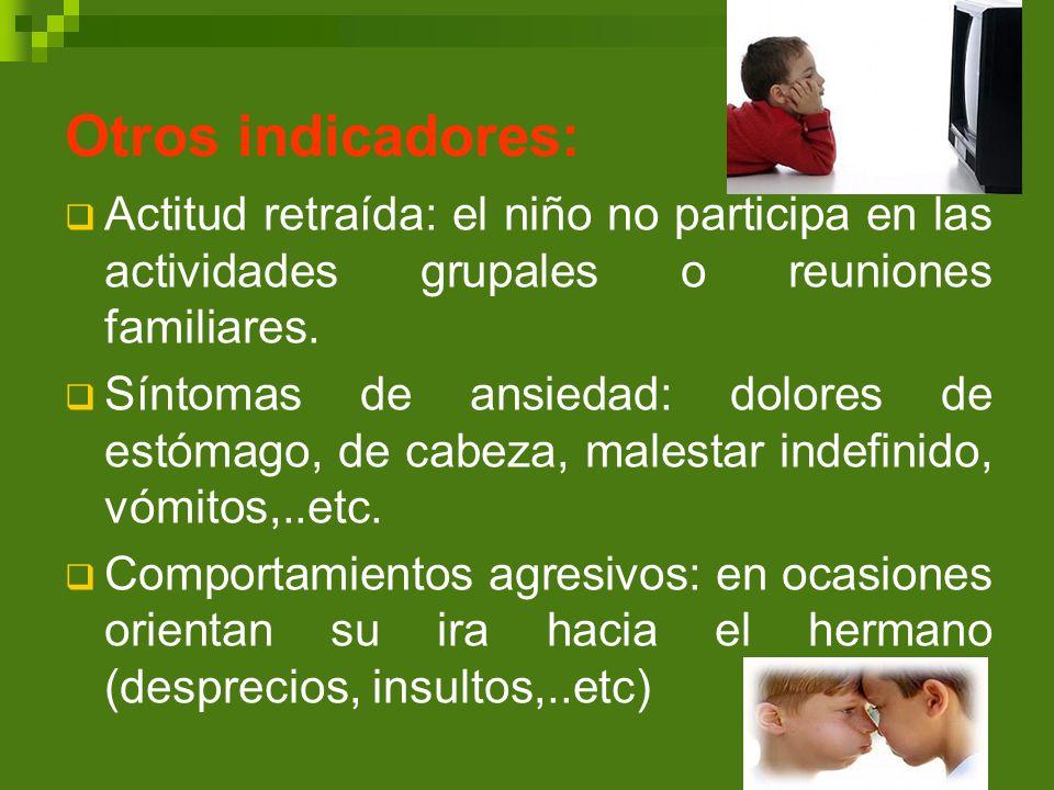Otros indicadores: Actitud retraída: el niño no participa en las actividades grupales o reuniones familiares.