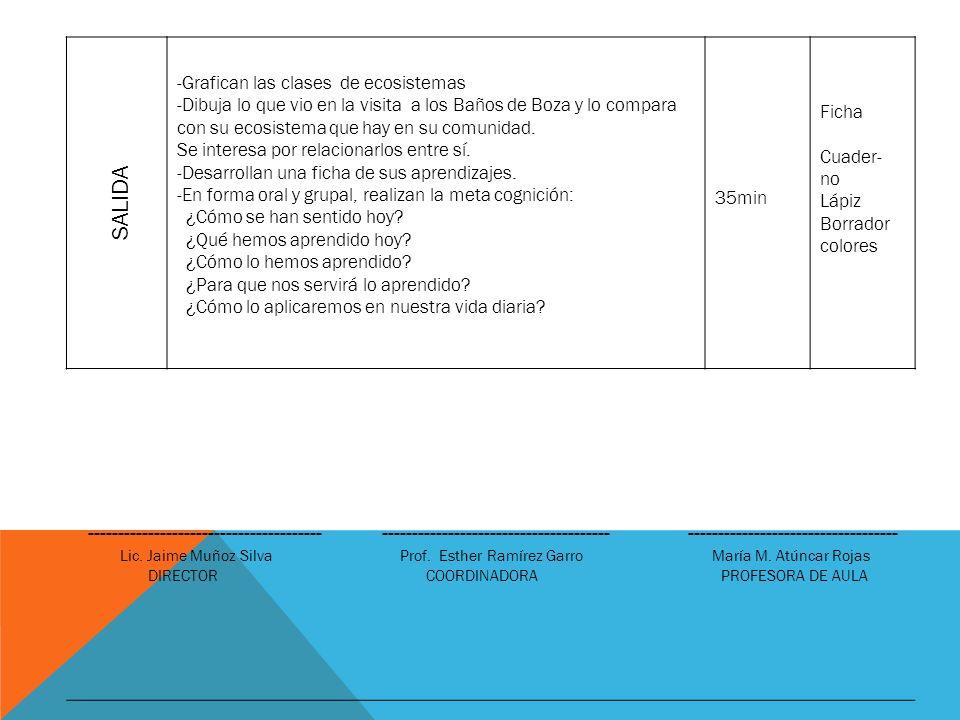 SALIDA -Grafican las clases de ecosistemas.