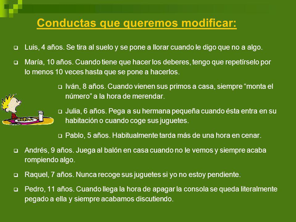 Conductas que queremos modificar: