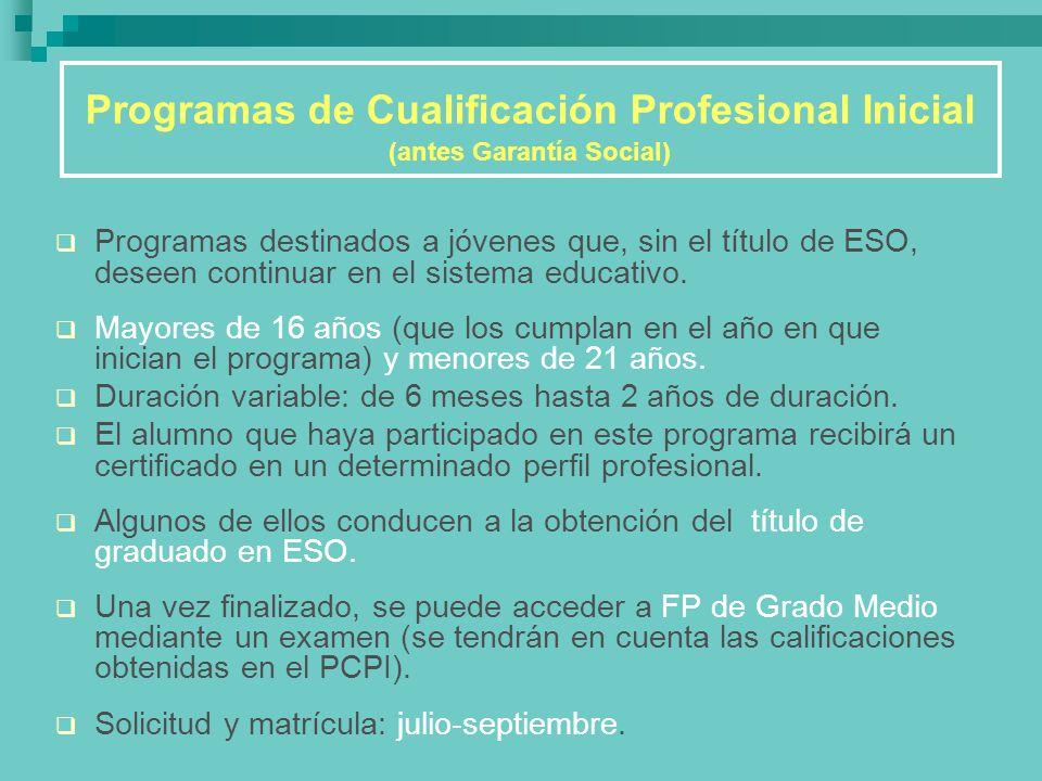 Programas de Cualificación Profesional Inicial (antes Garantía Social)