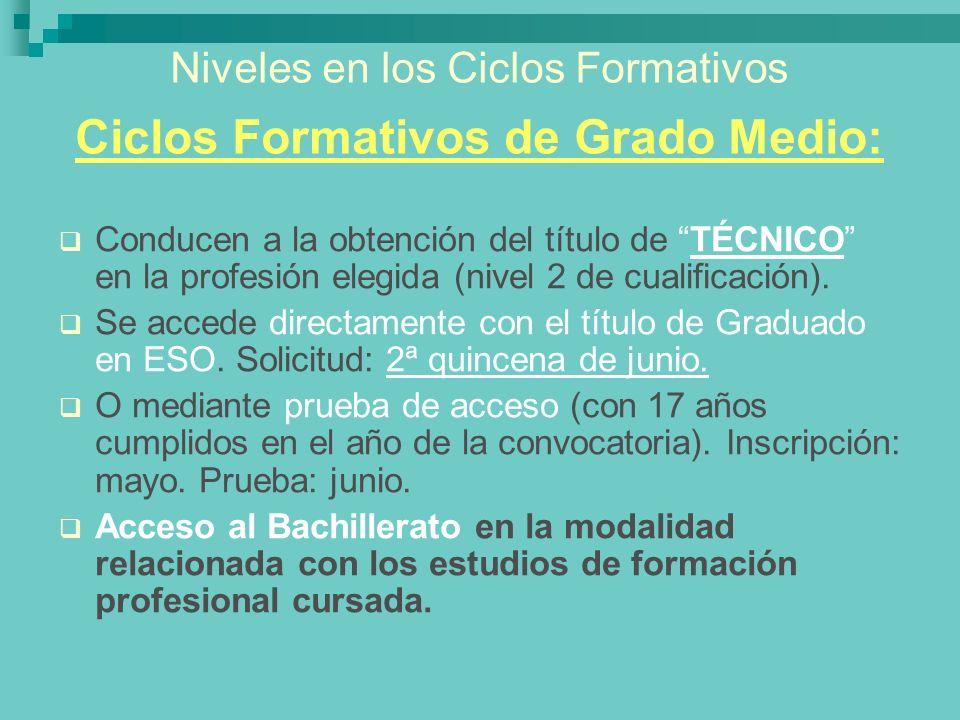 Niveles en los Ciclos Formativos Ciclos Formativos de Grado Medio: