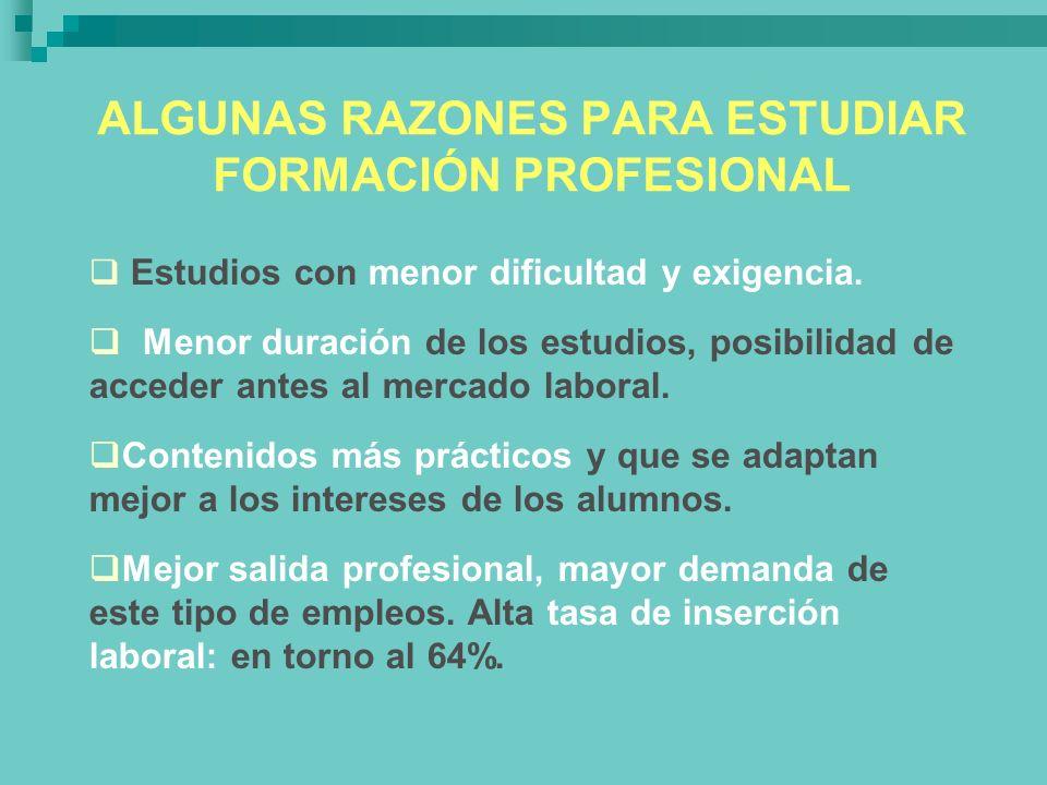 ALGUNAS RAZONES PARA ESTUDIAR FORMACIÓN PROFESIONAL