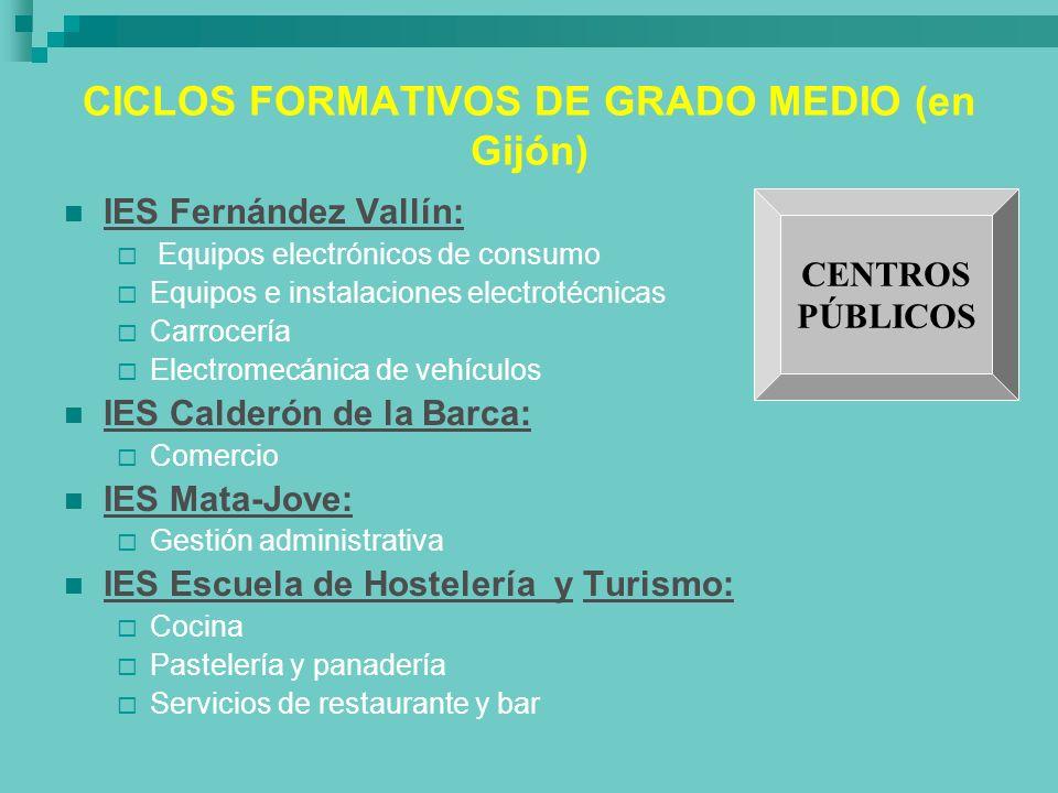 CICLOS FORMATIVOS DE GRADO MEDIO (en Gijón)