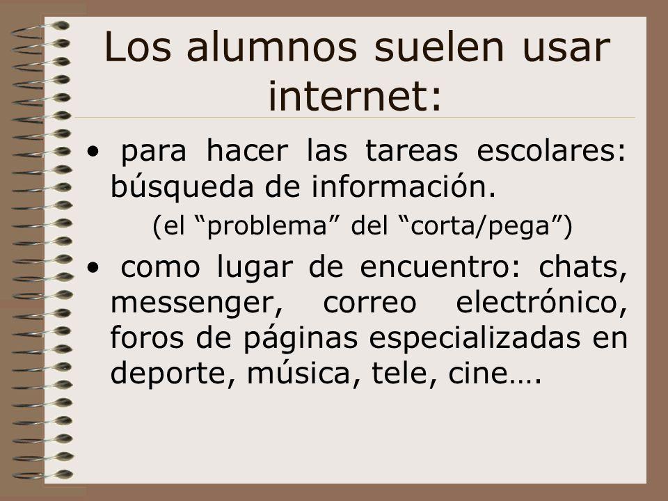 Los alumnos suelen usar internet: