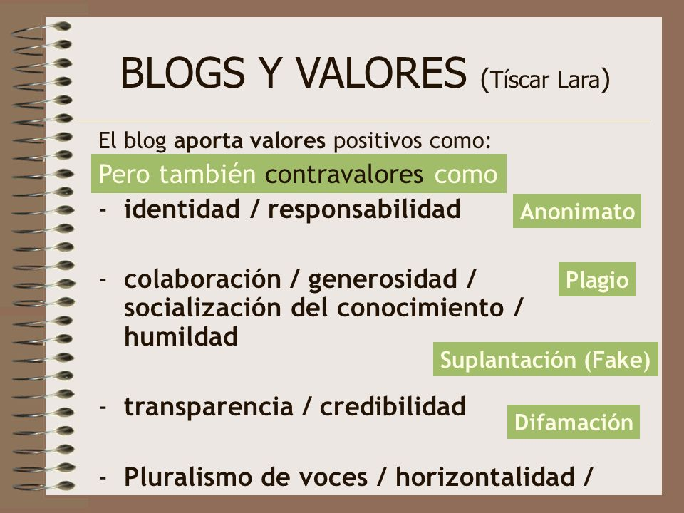 BLOGS Y VALORES (Tíscar Lara)