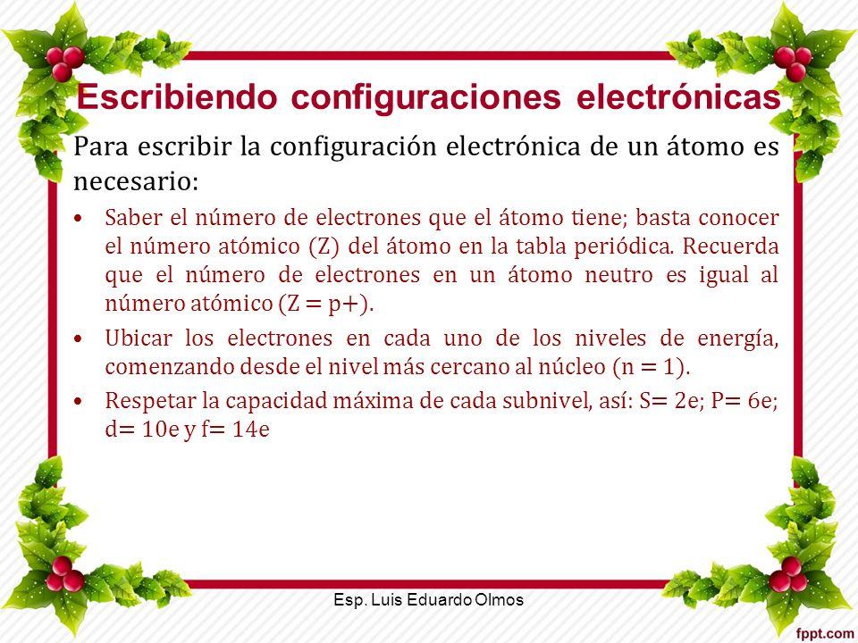 Escribiendo configuraciones electrónicas