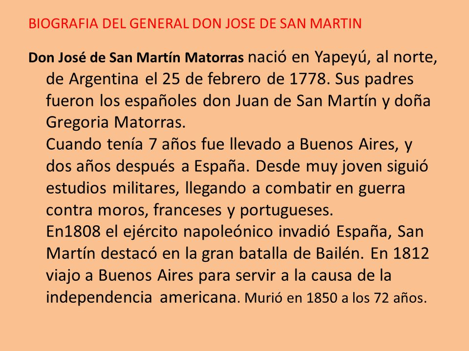 BIOGRAFIA DEL GENERAL DON JOSE DE SAN MARTIN