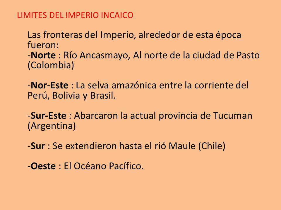 LIMITES DEL IMPERIO INCAICO