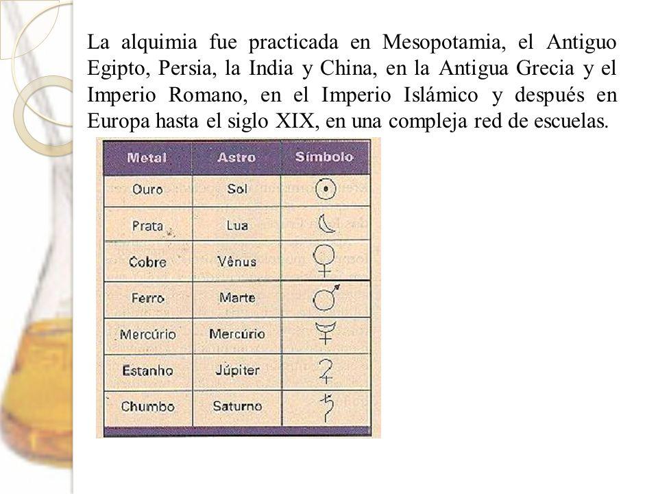 La alquimia fue practicada en Mesopotamia, el Antiguo Egipto, Persia, la India y China, en la Antigua Grecia y el Imperio Romano, en el Imperio Islámico y después en Europa hasta el siglo XIX, en una compleja red de escuelas.