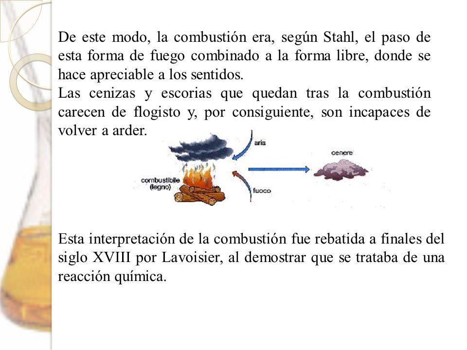 De este modo, la combustión era, según Stahl, el paso de esta forma de fuego combinado a la forma libre, donde se hace apreciable a los sentidos.