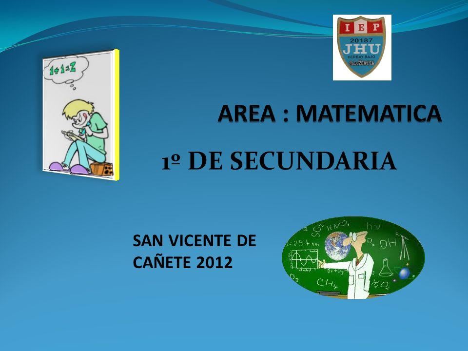AREA : MATEMATICA 1º DE SECUNDARIA SAN VICENTE DE CAÑETE 2012