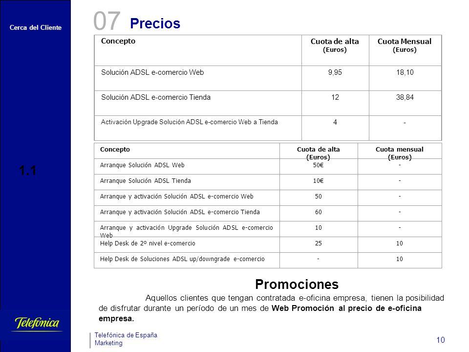 07 Precios. Concepto. Cuota de alta. (Euros) Cuota Mensual. Solución ADSL e-comercio Web. 9,95.