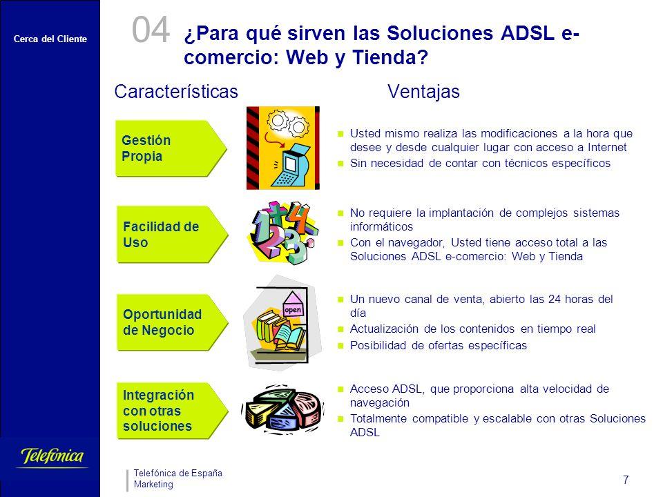 ¿Para qué sirven las Soluciones ADSL e-comercio: Web y Tienda