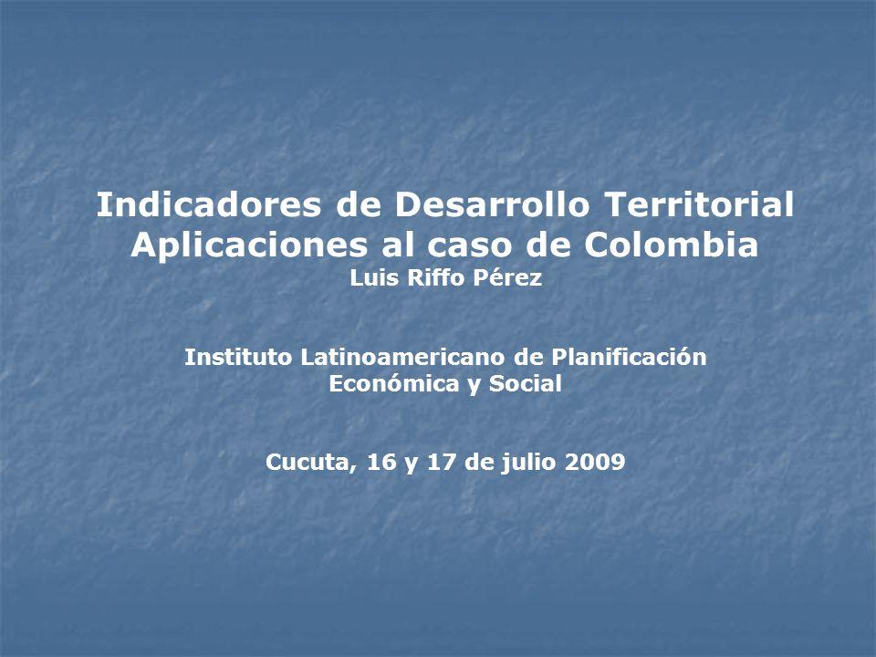 Indicadores de Desarrollo Territorial