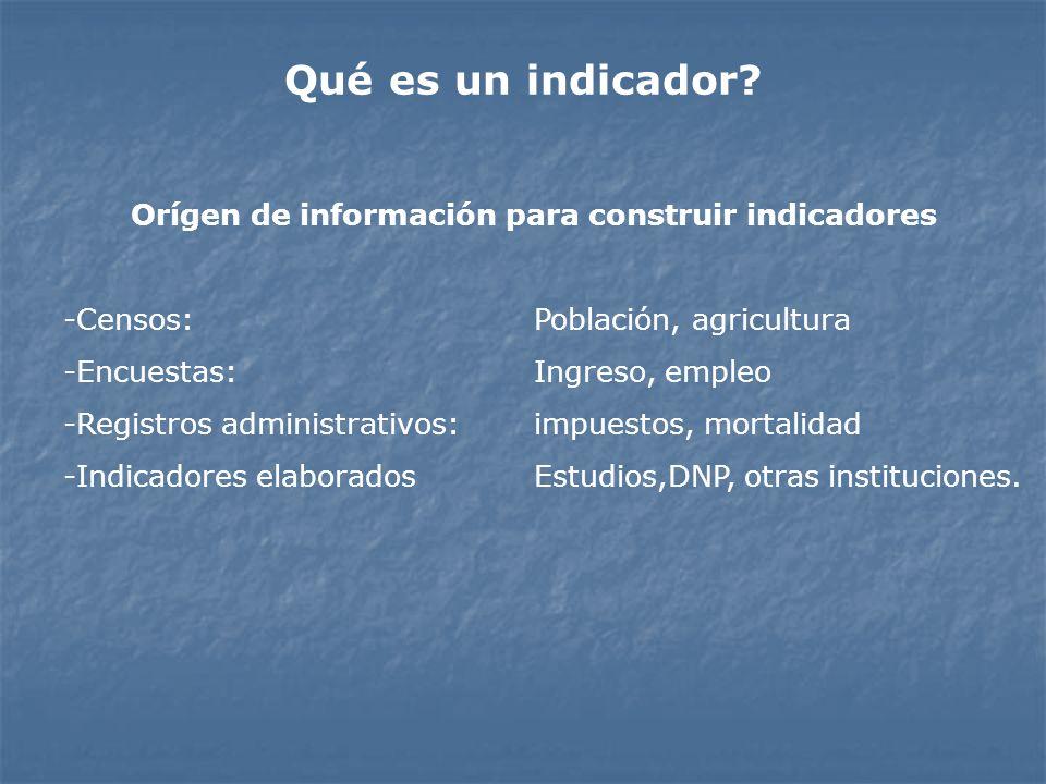 Orígen de información para construir indicadores