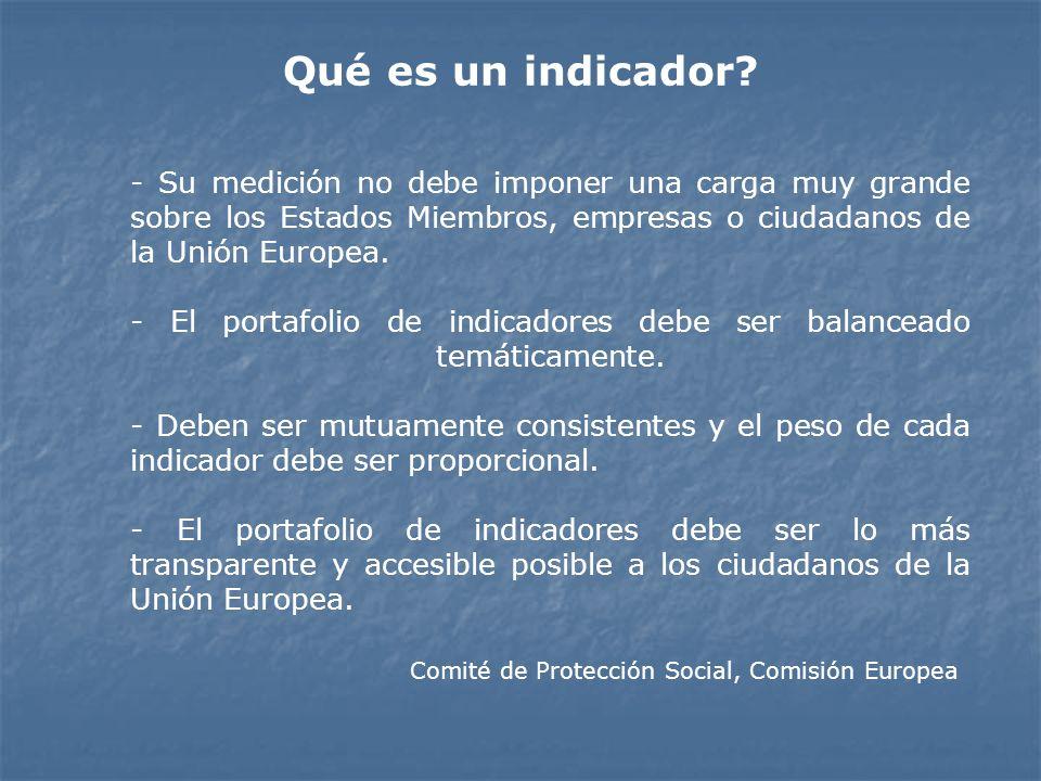 Qué es un indicador - Su medición no debe imponer una carga muy grande sobre los Estados Miembros, empresas o ciudadanos de la Unión Europea.