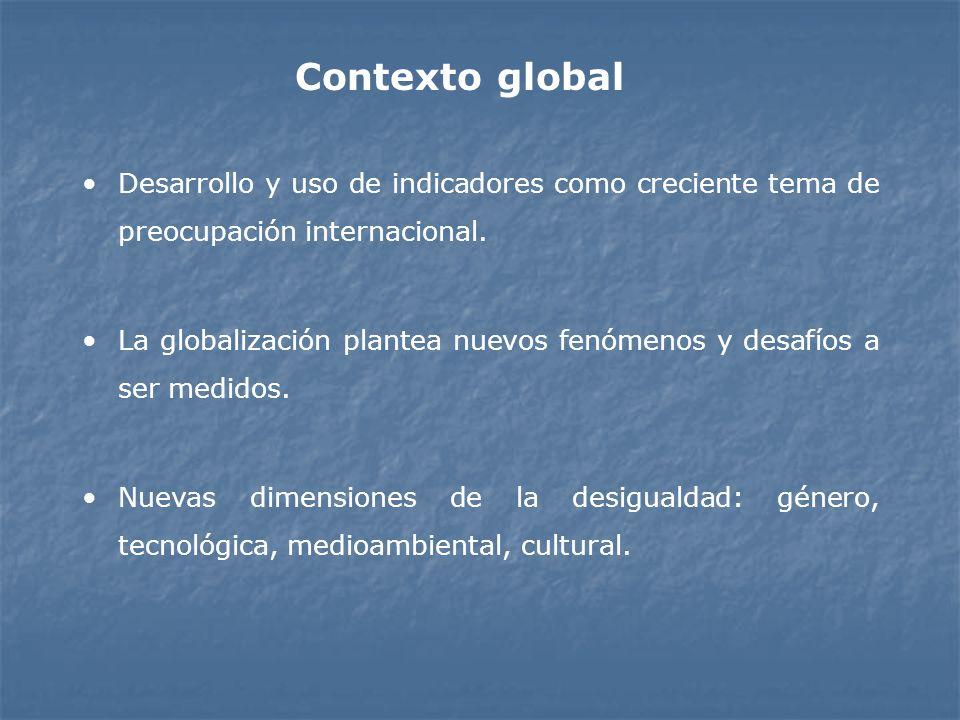 Contexto global Desarrollo y uso de indicadores como creciente tema de preocupación internacional.