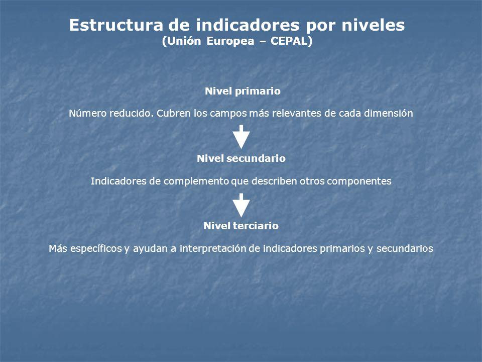 Estructura de indicadores por niveles (Unión Europea – CEPAL)