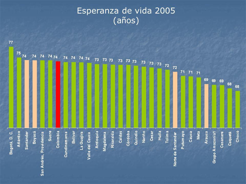Esperanza de vida 2005 (años)