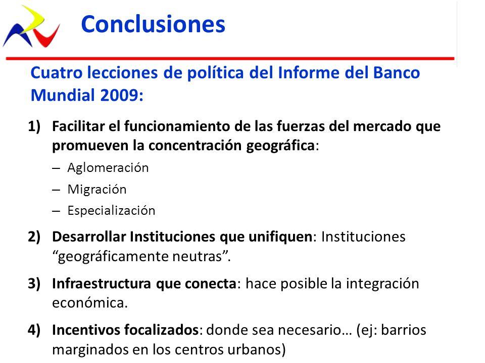 Conclusiones Cuatro lecciones de política del Informe del Banco Mundial 2009: