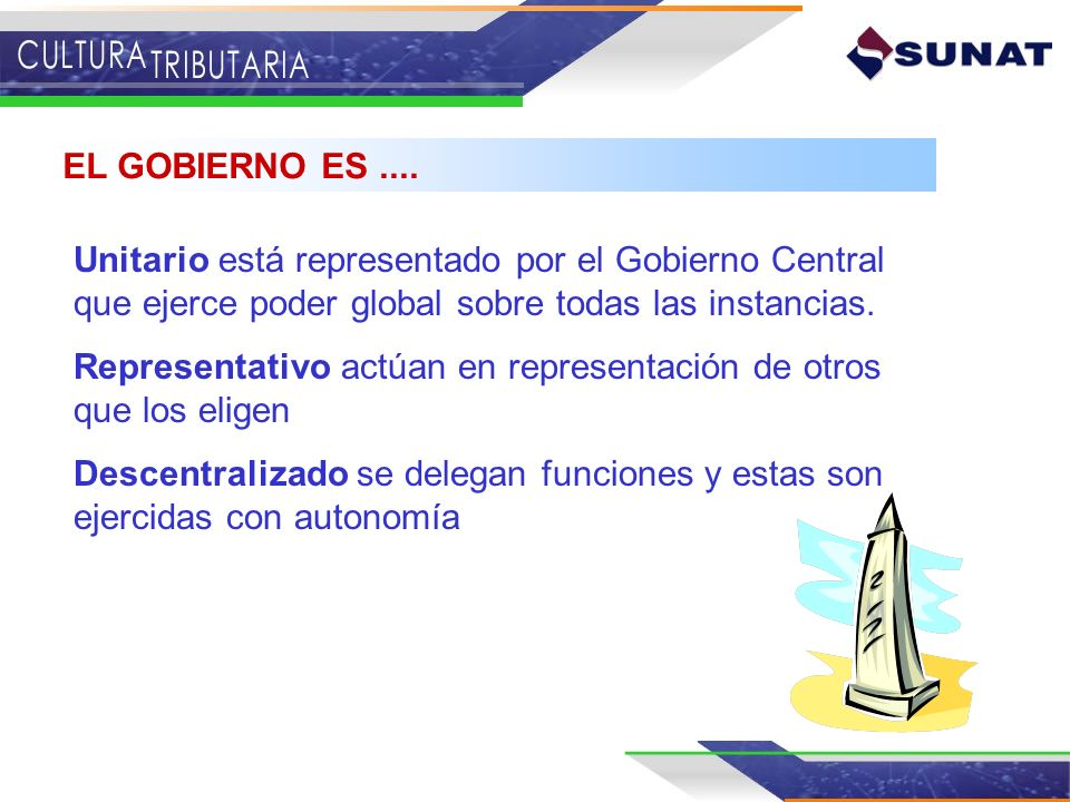 EL GOBIERNO ES ....Unitario está representado por el Gobierno Central que ejerce poder global sobre todas las instancias.