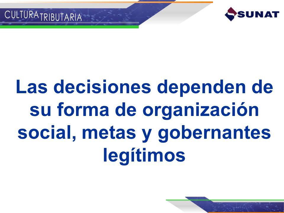 Las decisiones dependen de su forma de organización social, metas y gobernantes legítimos