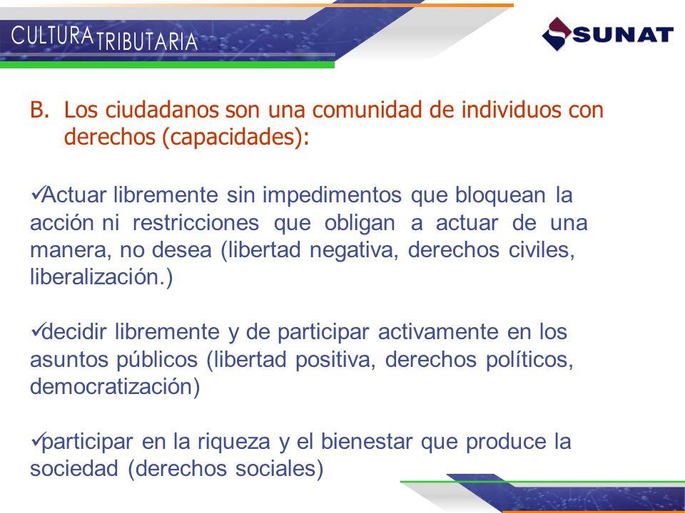Los ciudadanos son una comunidad de individuos con derechos (capacidades):