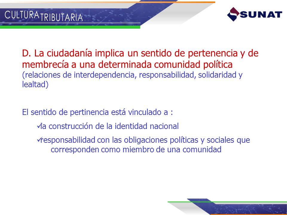 D. La ciudadanía implica un sentido de pertenencia y de membrecía a una determinada comunidad política (relaciones de interdependencia, responsabilidad, solidaridad y lealtad)