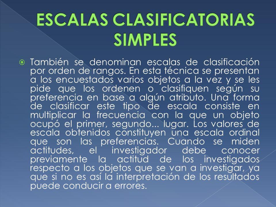 ESCALAS CLASIFICATORIAS SIMPLES