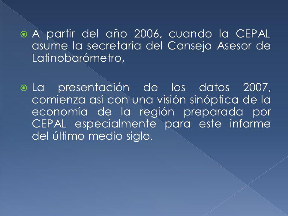 A partir del año 2006, cuando la CEPAL asume la secretaría del Consejo Asesor de Latinobarómetro,