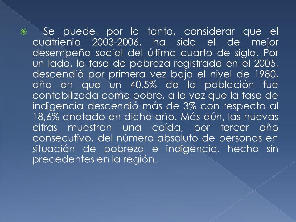 Se puede, por lo tanto, considerar que el cuatrienio 2003-2006, ha sido el de mejor desempeño social del último cuarto de siglo.