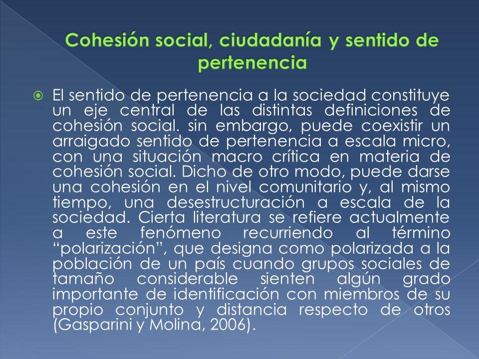 Cohesión social, ciudadanía y sentido de pertenencia