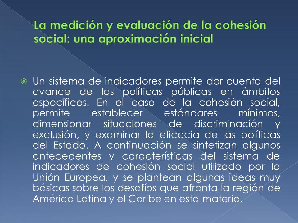 La medición y evaluación de la cohesión social: una aproximación inicial