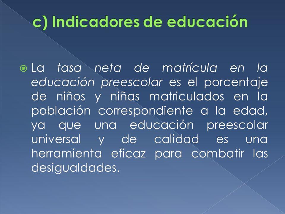 c) Indicadores de educación