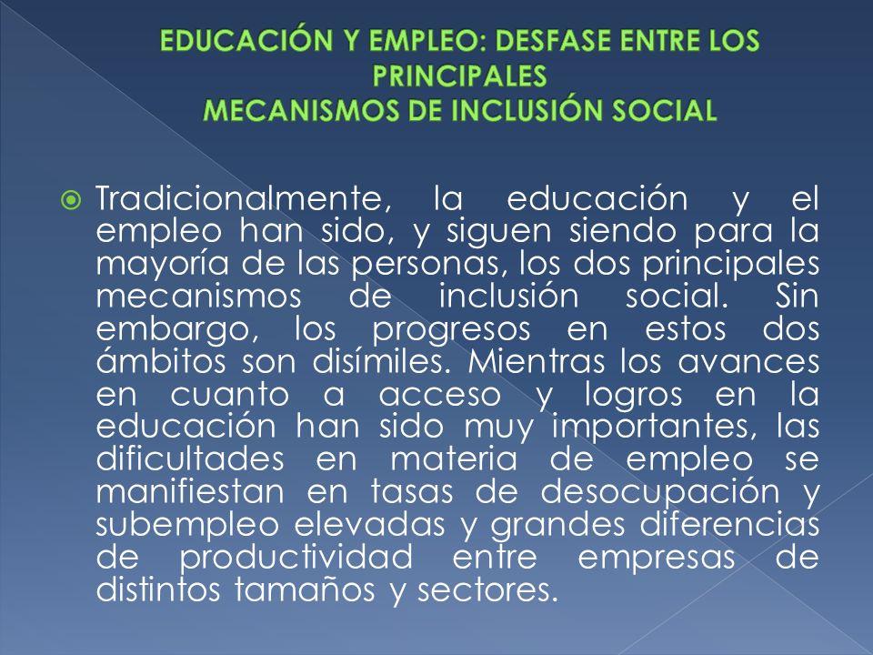 EDUCACIÓN Y EMPLEO: DESFASE ENTRE LOS PRINCIPALES MECANISMOS DE INCLUSIÓN SOCIAL
