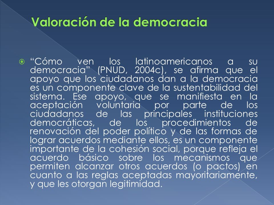 Valoración de la democracia