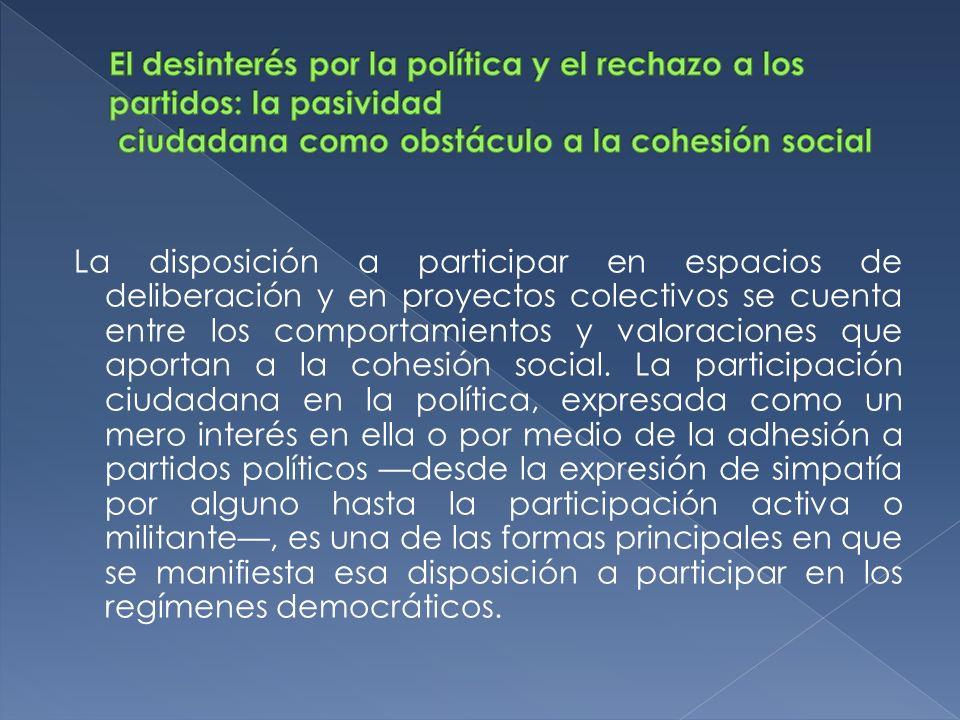 El desinterés por la política y el rechazo a los partidos: la pasividad ciudadana como obstáculo a la cohesión social