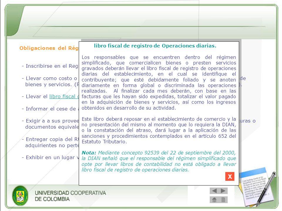 X libro fiscal de registro de Operaciones diarias.