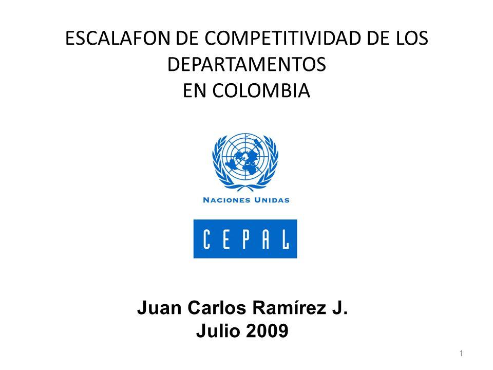 ESCALAFON DE COMPETITIVIDAD DE LOS DEPARTAMENTOS EN COLOMBIA
